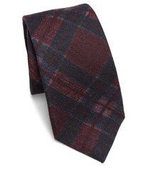 Isaia   Blue Plaid Silk & Wool Tie for Men   Lyst