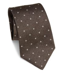 Isaia - Brown Embroidered Silk Tie for Men - Lyst