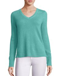 Saks Fifth Avenue   Green Cashmere V-neck Sweater   Lyst