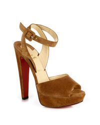 Christian Louboutin | Brown Loulou Dancing 140 Suede Ankle-strap Platform Sandals | Lyst