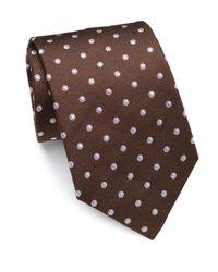 Eton of Sweden   Brown Dotted Silk Tie for Men   Lyst