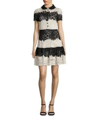 RED Valentino   Black Horizontal Lace Dress   Lyst