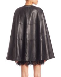 McQ Alexander McQueen Black Lamb Leather Cape