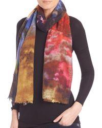 Bindya Multicolor Cloud-print Cashmere & Silk Scarf