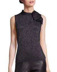 Saks Fifth Avenue | Black Metallic Bow Sleeveless Sweater | Lyst