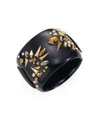 Alexis Bittar - Black Golden Studded Hinge Cuff Bracelet - Lyst
