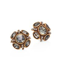 Oscar de la Renta | Metallic Classic Crystal Button Stud Earrings | Lyst