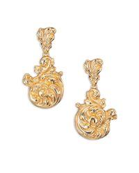 Oscar de la Renta   Metallic Rococo Swirl Clip-on Drop Earrings   Lyst
