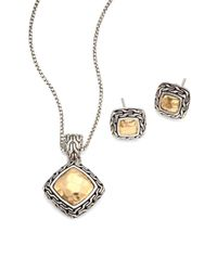John Hardy | Metallic Classic Chain Hammered 18k Yellow Gold Pendant Necklace & Stud Earring Heritage Gift Box Set | Lyst