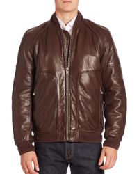 Andrew Marc | Blue Hughes Leather Fur-lined Moto Jacket for Men | Lyst