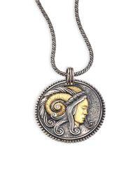 Konstantino - Metallic Diamond, 18k Yellow Gold & Sterling Silver Zodiac Aries Pendant - Lyst