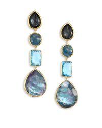Ippolita | Blue Rock Candy? 18k Yellow Gold Four-stone Linear Drop Earrings | Lyst
