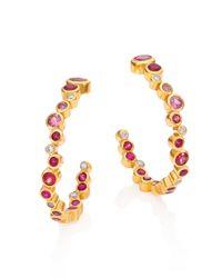 Gurhan | Metallic Pointelle Diamond, Multi-stone & 24k Yellow Gold Hoop Earrings/1.2 | Lyst