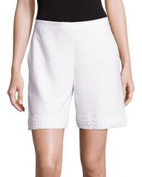 St. John | White Clair Knit Shorts | Lyst
