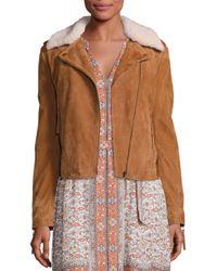 Joie | Multicolor Paulette Shearling Moto Jacket | Lyst