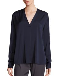 VINCE | Blue Crossover Silk Blend V-neck Top | Lyst