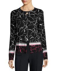 ESCADA | Black Wool Leaf Cardigan | Lyst