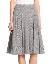 Akris Punto | Black Dot Pleated Skirt | Lyst