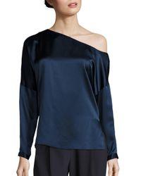Tibi   Blue Crepe Silk Satin Asymmetric Top   Lyst