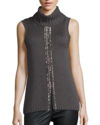 Ramy Brook | Black Leah Embellished Merino Wool Sweater | Lyst