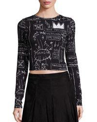Alice + Olivia   Black X Basquiat Delaina Printed Cropped Top   Lyst