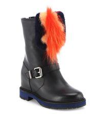 Fendi | Black Caroline Leather & Fur Moto Boots | Lyst