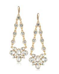 ABS By Allen Schwartz   Metallic Gold-tone Crystal Chandelier Earrings   Lyst