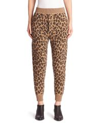 Alexander Wang | Brown Leopard-print Wool & Cashmere Sweatpants | Lyst