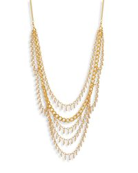 Chan Luu | Metallic Draped Chain & Crystal Multi-row Necklace | Lyst
