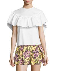 RED Valentino | White Ruffle Short Sleeve Blouse | Lyst