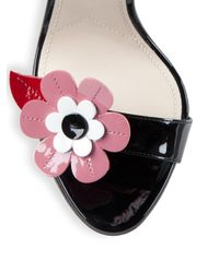 Prada - Floral-embroidered Patent Leather Ankle-strap Sandals - Lyst