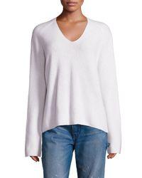 VINCE   White Cashmere V-neck Pullover   Lyst