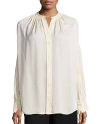 VINCE | White Shirred Silk Blouse | Lyst