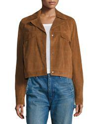 VINCE | Blue Jean Suede Moto Jacket | Lyst