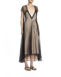 Lanvin | Black Tulle Overlay Slip Dress | Lyst
