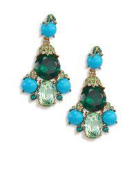 Oscar de la Renta - Blue Crystal & Resin Chandelier Earrings - Lyst