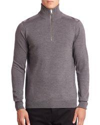 Burberry | Gray Farnborough Merino Wool Half-zip Sweater for Men | Lyst