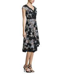 Nanette Lepore Black Cap-sleeve Asymmetric Floral Lace Dress