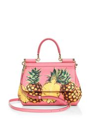 Dolce & Gabbana | Pink Mini Miss Sicily Tropical Saffiano Leather Top-handle Bag | Lyst