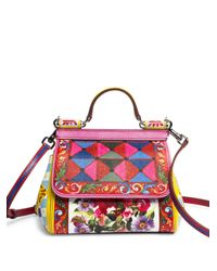 Dolce & Gabbana | Red Mini Miss Sicily Printed Leather Top-handle Bag | Lyst