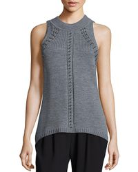 Ramy Brook | Gray Reya Sleeveless Studded Sweater | Lyst
