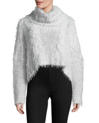 Free People | White Isle Of Sky Cropped Turtleneck Sweater | Lyst