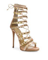 Giuseppe Zanotti | Natural Coline 110 Studded Silk Lace-up Sandals | Lyst