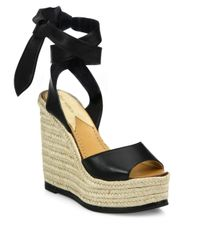 9a3b1fb0892 Lyst - Paul Andrew Lulea Leather Espadrille Wedge Sandals in Black