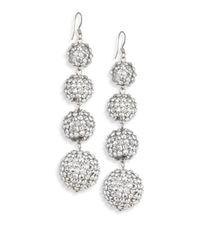 Kenneth Jay Lane | Metallic Four-ball Crystal Drop Earrings | Lyst