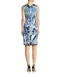 Roberto Cavalli | Blue Cady Lace Applique Sheath Dress | Lyst