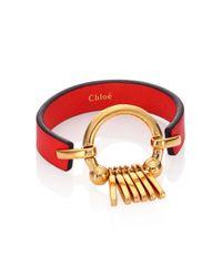 Chloé | Red Marin Fringe Leather Bracelet | Lyst