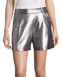 Halston - Gray Metallic Lamb Suede Shorts - Lyst