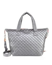 MZ Wallace   Gray Large Sutton Quilted Metallic Nylon Duffle Bag   Lyst