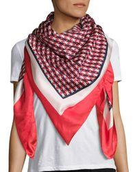 Armani   Red Tweed-print Silk Scarf   Lyst